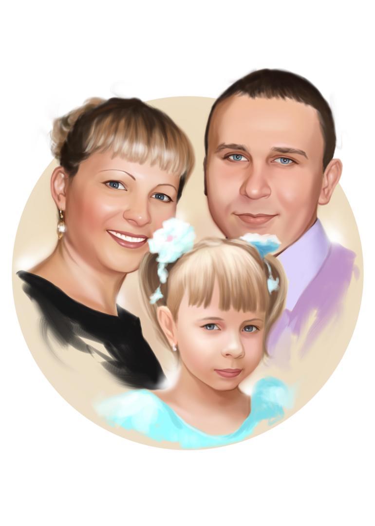 Семейный портрет по фото на холсте в Тбилиси — правильный подарок!