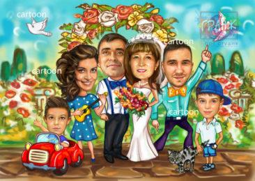 Шарж по фото на годовщину свадьбы на заказ в Тбилиси…